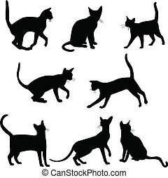 Cats silhouettes collection - vector illustration