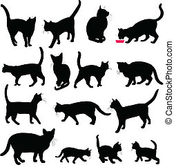 cats silhouettes collection - vector