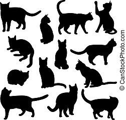 Cats Silhouettes - Set of cats Silhouettes on a white...
