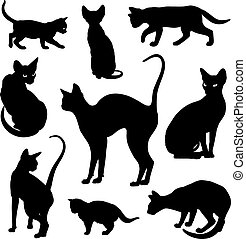 Cats silhouettes graphic vector set - Cats silhouettes...