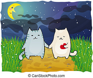 Cats under the moon - Romantic walk under the moon. Lady and...