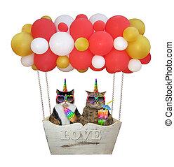 Cats unicorn in a hot air balloon