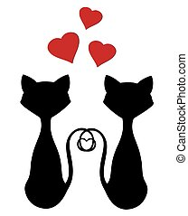 Cats - vector cats silhouette with red hearts