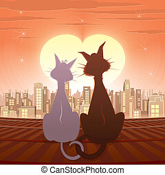 Cats - Couple of Domestic Cats, romantic vector illustration