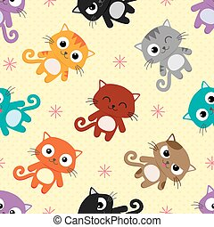 Cats vector pattern