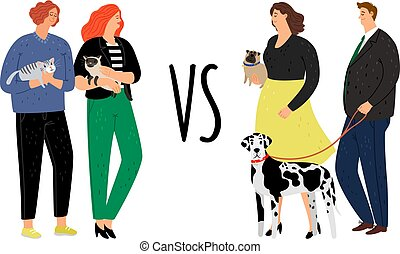 Cats versus dogs animal owners - Owners animals. Cats versus...