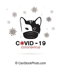 Cats wearing a mask to protect against the covid-19 virus. Breathing mask on cat face flat vector icon for apps and websites. Easy editable layered vector illustration.