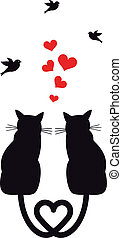 cats with hearts and birds, vector