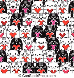 Cats with hearts in hands seamless vector pattern - Cats...