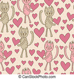 cats with hearts seamless pattern