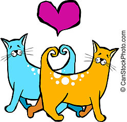 Cats with their tails forming a heart. Valantines card pet motifs