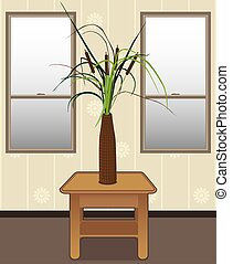 Cattails in a vase on end table