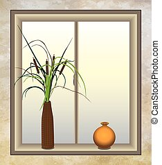 Cattails with Vase - Cattails in a window next to a vase