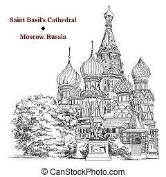 cattedrale basilico san, in, mosca, vettore, mano, disegno, immagine