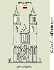 cattedrale, germany., magdeburg, punto di riferimento, icona, magdeburg