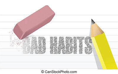 cattivo, cancellare, disegno, illustrazione, abitudini