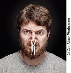 cattivo, odore, concetto, -, molletta, su, maschio, naso