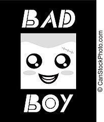 cattivo, ragazzo, icona