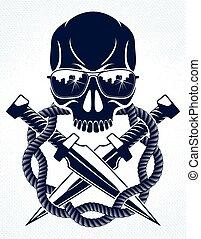 cattivo, tumulto, emblema, o, rivoluzione, revolutionary., vettore, anarchia, aggressivo, partigiano, ribelle, cranio, logotipo, tatuaggio, caos