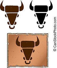 A cow head shaped cattle brand design.