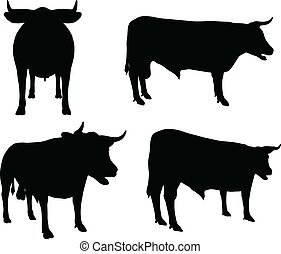 EPS 10 vector silhouettes of cattle collection in default position