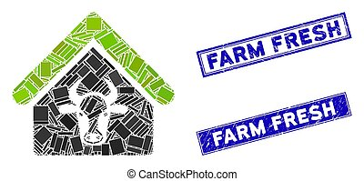 Cattle Farm Mosaic and Grunge Rectangle Farm Fresh Watermarks