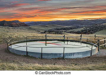 cattle water tank at Colorado ranch - cattle water tank in ...