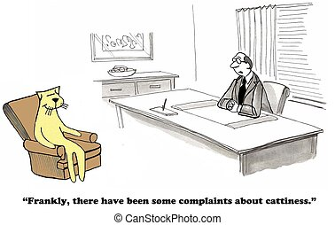 Catty - Business cartoon about cattiness.