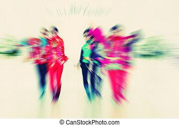 catwalk, sätt modellerar, abstrakt, -, zoom, bl, bakgrund,...