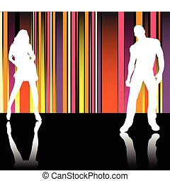 Catwalk Stripes - Sexy couple silhouettes in front of...