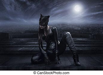 catwoman, telhado, sentando