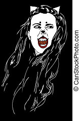 Catwoman vampire - drawing of a woman in the image of a cat