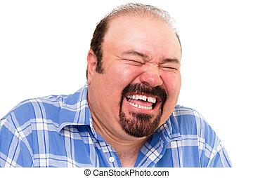 caucásico, barbudo, feliz, hombre, reír, fuerte