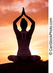 caucásico, condición física, mujer, practicar, yoga