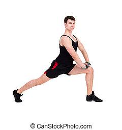 caucásico, hombre que ejercita, entrenamiento, condición física