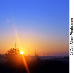 caucase, été, nord, town., sur, paysages, levers de soleil