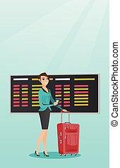 Caucasian airplane passenger holding passport.