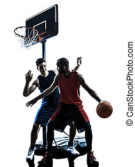caucasian and african basketball players man dribbling silhouett