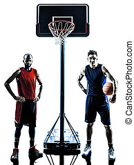 caucasian and african basketball players man silhouette