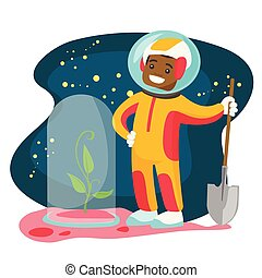 Caucasian astronaut planting tree on a new planet. - Young...