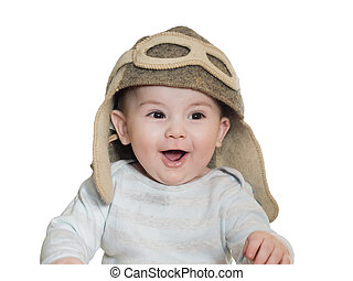 Caucasian baby boy in pilot hat isolated