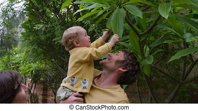 Caucasian baby playing with leaves in garden - Side view of ...