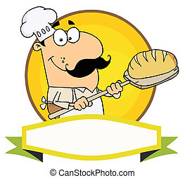 Caucasian Baker Holding Bread Over A Yellow Circle And Blank...