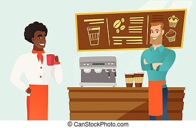 Caucasian barista standing near the coffee machine