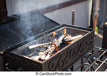 Caucasian BBQ. charcoal grill and flames close up.