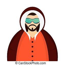 winter jacket icon - caucasian bearded man wearing orange...