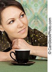 Caucasian beautiful lady sitting