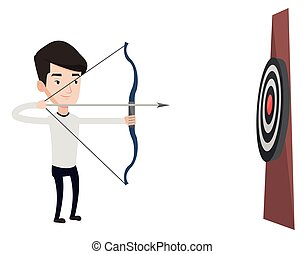 Bowman aiming with bow and arrow at the target.