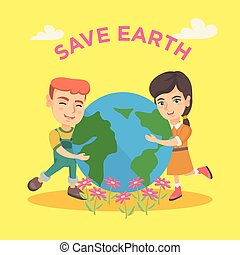 Caucasian boy and girl hugging the Earth planet.