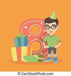 Caucasian boy celebrating eighth birthday. - Caucasian boy ...